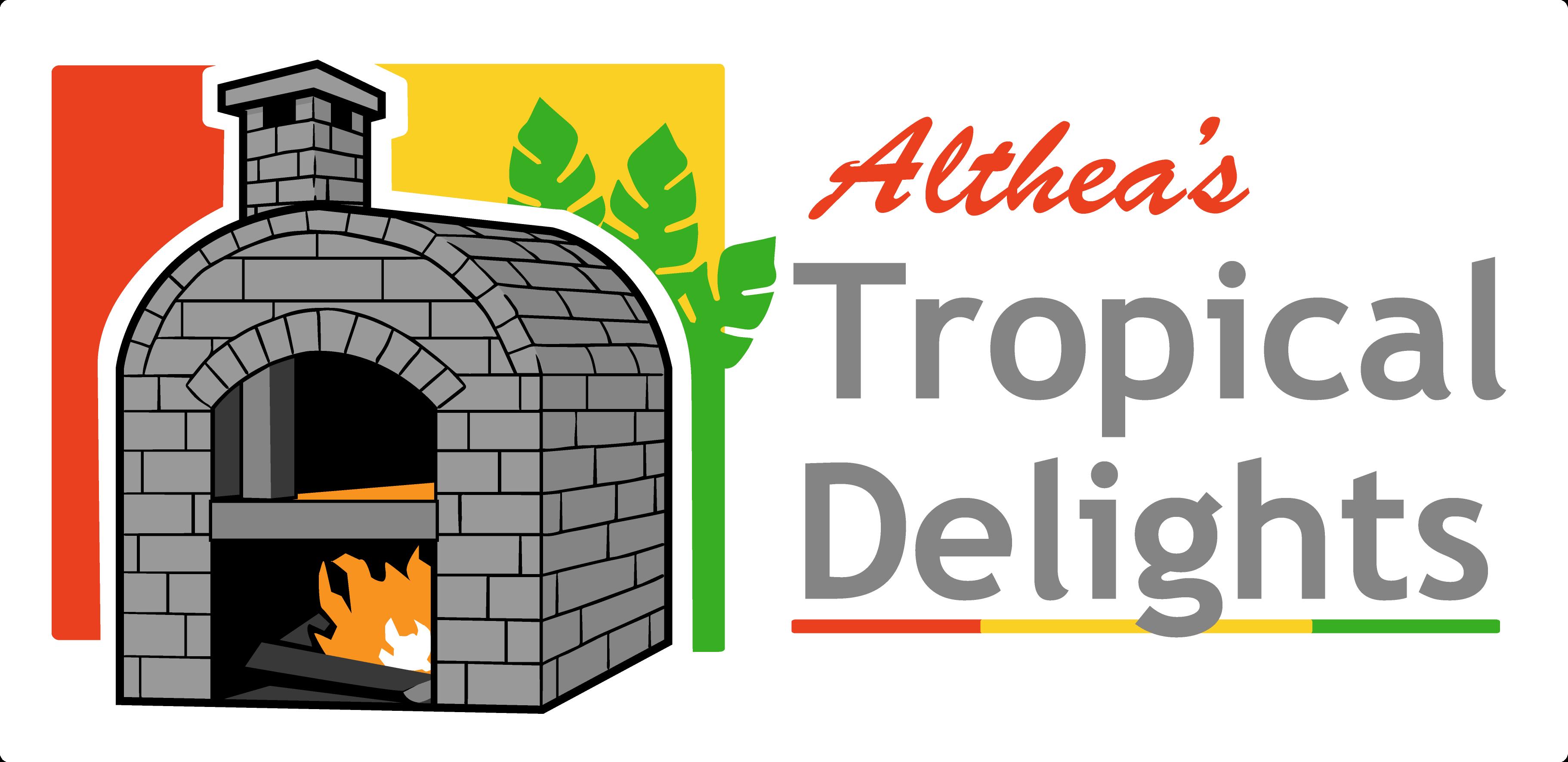 Althea's Tropical Delights Logo Script Name (white backing)